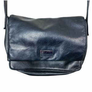 Black Leather Crossbody Bag by PERLINA New York